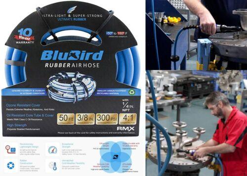 """Blubird Bb3850 Lightest Strongest Most Flexible Rubber Air Hose 3/8"""" X 50"""
