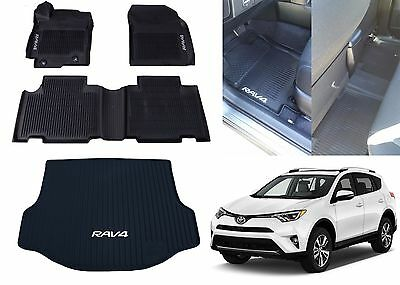 Genuine OEM Front, Rear, Cargo All Weather Floor Mats For 2013-2017 Toyota Rav-4