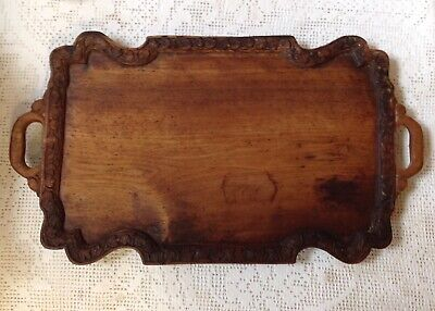 Antique Asian Treen Rectangular Hand Carved Two Handled Tray, Serving Platter