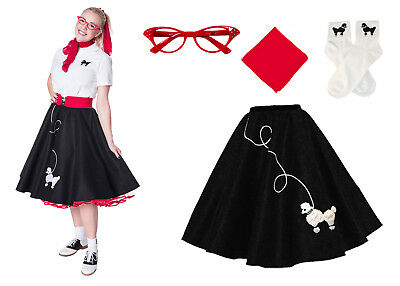 Hip Hop 50s Shop Womens 4 pc Poodle Skirt Outfit Halloween or Dance Costume Set - Halloween Costume Sets