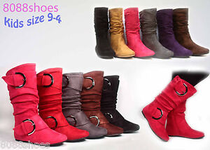 Girls-Kids-Cute-Zipper-Flat-Heel-Mid-Calf-Slouchy-Boot-Shoes-9-4-6-Colors