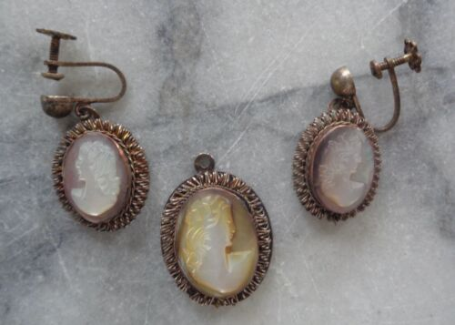Antique Cameo Earrings and Pendant - 800 Silver