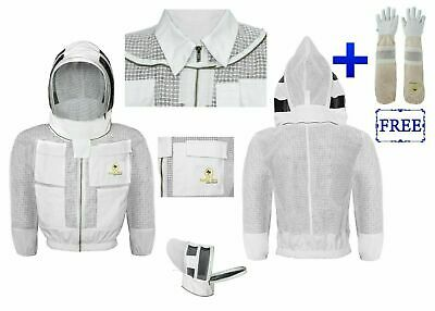 3 Layers Ventilated Smart Beekeeping Jacket With Fencing Veil Gloves Size Xl
