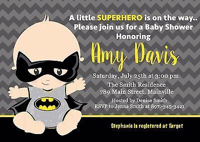 Batman, Superhero, Baby Shower Invitation (Superhero Baby Shower Invitations)