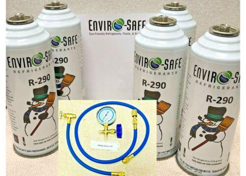 EnviroSafe Refrigerant, R290, Five 8 oz. Cans, 9992 Refrigeration Gauge Set