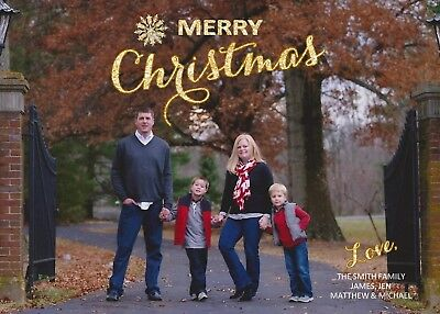 Gold Glitter Holiday Christmas Personalized Photo Card - Any # of Photos ()