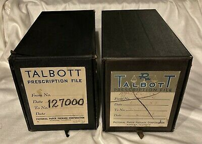 Vintage Metal Pharmacy Drug Receipt Prescription File Box