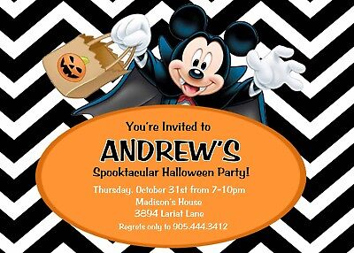 Mickey Mouse Halloween Birthday Party Invitation - Mickey Mouse Halloween Invitations