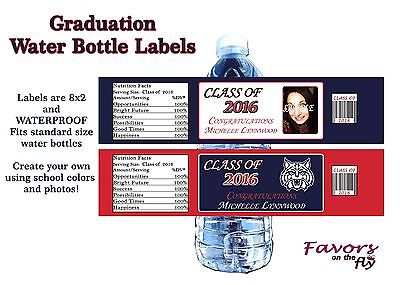 30 2019 Graduation Water Bottle Labels Personalized with photo and school colors - Photo Water Bottle