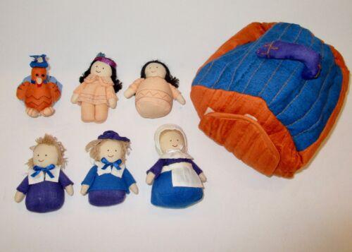Plush Pilgrim Thanksgiving play set playset Native American turkey dolls cabin