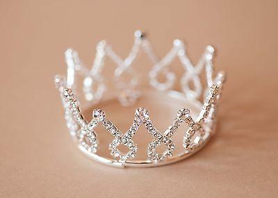 Mini Tiara Crown for Newborn Baby Photo Prop Crystal Flower Girl Crown Loop 4014