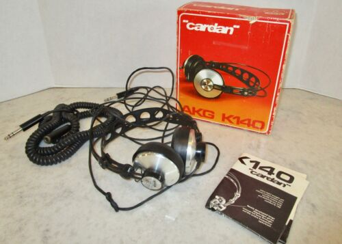 Cardan headphones vintage AKG K140 Hi-Fi Stereo with box tested plus manual