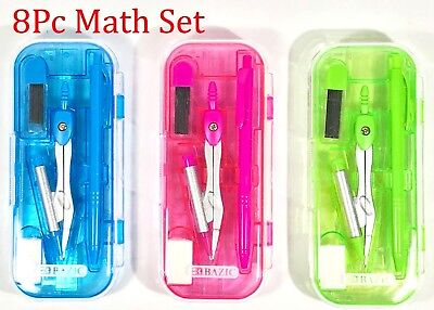 - 8 pc Math Tool Set Geometry School Compass Ruler Triangle Protractor Eraser C056