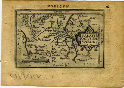 1609 Genuine Antique miniature map Germany, Regensburg, Nurenberg. A. Ortelius