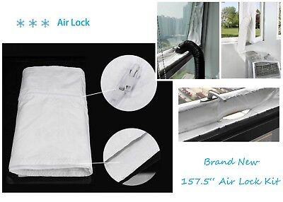 """2*Air Lock Window Seal Fresh Air 400cm 157.5"""" Portable Air Conditioner Home Room"""