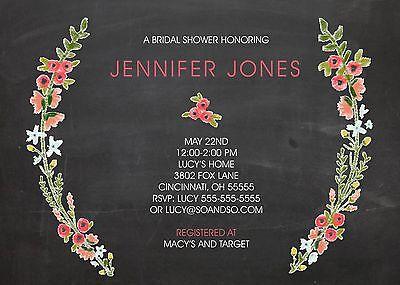 Chalkboard Floral Wreath Couples Bridal Wedding Shower Invitation Any Colors - Chalkboard Bridal Shower Invitations