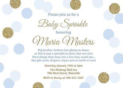 Baby Sprinkle Invitations (Baby Sprinkle Invitation, Boy, Blue, Gold, Baby, Invitation,)