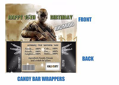 Call of Duty Candy bar wrappers, Party Supplies, Birthday, Gamer, Call of duty (Call Of Duty Birthday Party)