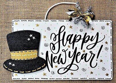 HAPPY NEW YEAR SIGN Wall Door Hanger Plaque Wreath Accent Holographic Glitter