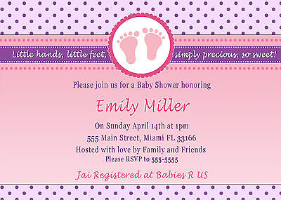 30 Invitations Purple Pink Polka Dots Baby Girl Shower Personalized Cards A1 Polka Dots Invite