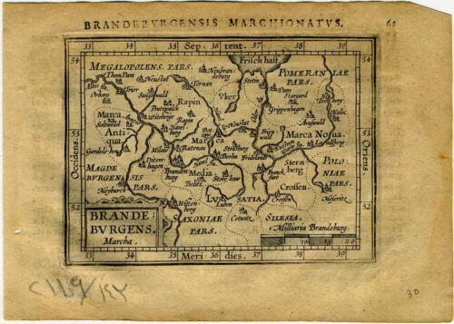 1609 Genuine Antique miniature map Germany, Brandenburg. by A. Ortelius