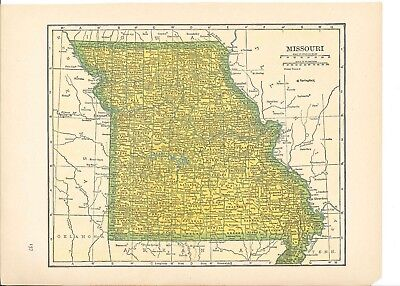 1942 Vintage MISSOURI Map ready to frame for art