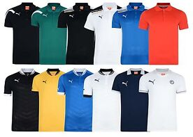 New Mens Puma Short Sleeve Sport Training Stripe Collor Polo Shirt D30