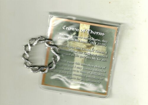 """Crown of Thorns Charm 1.25"""", with Prayer Card in Plastic Sleeve"""