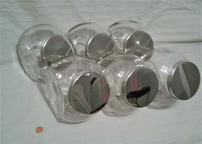Glass Candy Jars Wholesale (large CANDY PENNY JARS with lids  Lot of 6 - Wedding Party Favors Table)
