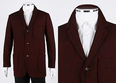 Vintage PENDLETON c.1950's Red Black Pinstripe Wool Blazer Sportcoat Jacket