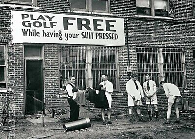 Vintage Funny Golfing PHOTO Play FREE Sign Golfers Golf Art Pic Putting Clubs Free Funny Photo