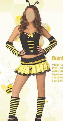 5 PC SET HOTTIE BUMBLE BEE HALLOWEEN PARTY WOMENS COSTUME sz S M L
