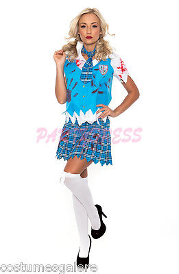 OP 164 Ladies Costume Fancy Dress Halloween Scary Zombie School Girl Sz 6 -16 (Scary School Girl Halloween Costume)