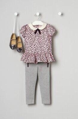 NWT Janie Jack Rose Terrace Pink Animal Print Top Ponte Pant Socks Size -