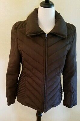 Kenneth Cole Reaction Womens Size L Brown Quilted Puffer Coat Jacket Down
