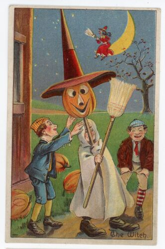 Early Embossed HALLOWEEN POSTCARD. THE WITCH