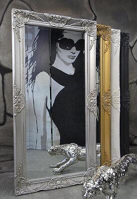 Schlafzimmer Spiegel (Wandspiegel Spiegel barock antik modern Weiß Silber Gold Schwarz 100 x 50 cm  )