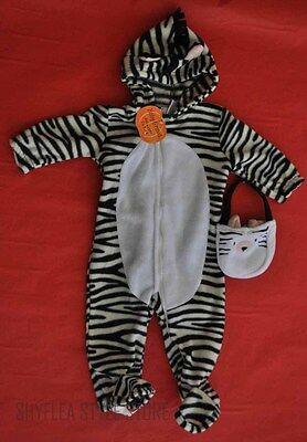 ZEBRA Infant Halloween Costume Baby 12M Toddler Fleece Treat Bag Black Jumper (Zebra Toddler Costume)