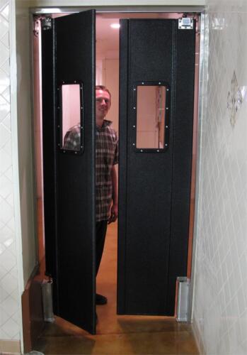"""Restaurant Kitchen Doors 42"""" x 82"""" Double Panel Swinging Traffic Door New Black."""
