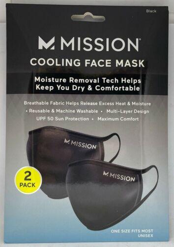 Mission Cooling Face Mask Black 2-pack Unisex 109550 New