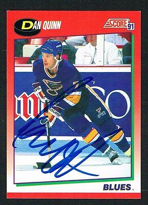 Dan Quinn  62 Signed Autograph 1991 92 Score Hockey Canadian Release Card