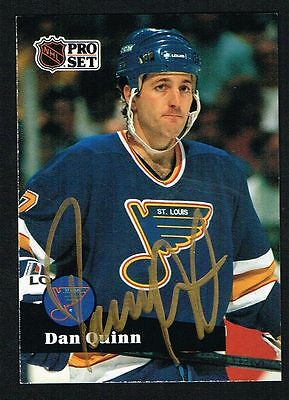 Dan Quinn  209 Signed Autograph Auto 1991 92 Pro Set Hockey Trading Card