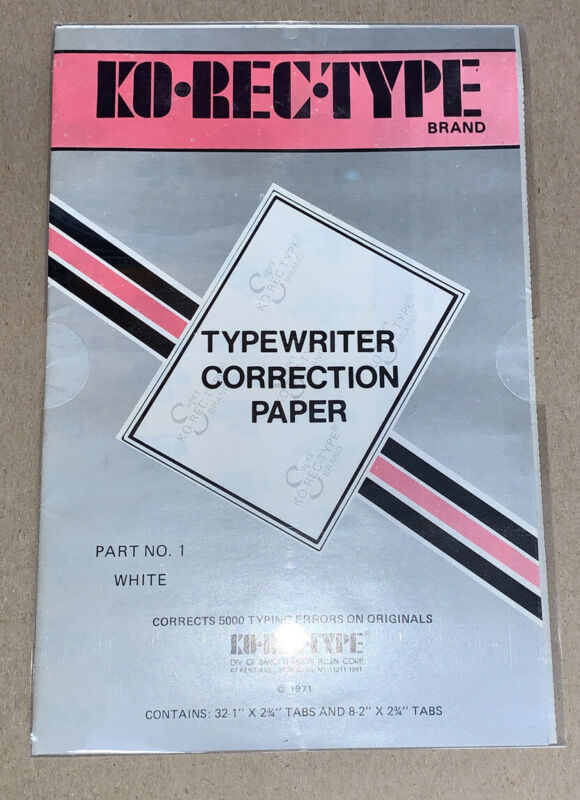 Eaton Allen Corp. KO-REC-TYPE Typewriter Correction Paper