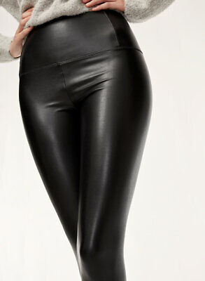Aritzia Wilfred Free Daria Ankle Pants Leggings Black Vegan Faux Leather size - Daria Halloween