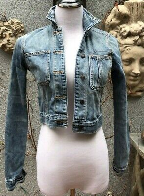 NWT Abercrombie & Fitch Distressed Cropped Jean Jacket, size XS