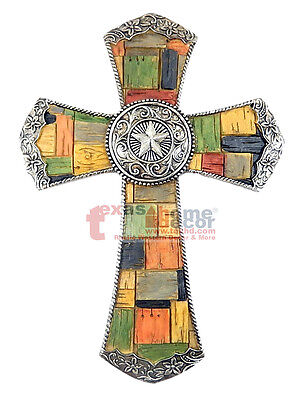Mosaic Cross (Silver Star Concho Decorative Wall Cross Silver Flowery Accents Western)
