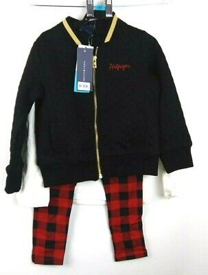 Tommy Hilfiger Bomber Jacket-Long Sleeve Shirt-Plaid Pants-3 Piece Set Size 4T