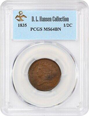 1835 1/2c PCGS MS64 BN ex: D.L. Hansen - Classic Head Half Cents (1809-1836)