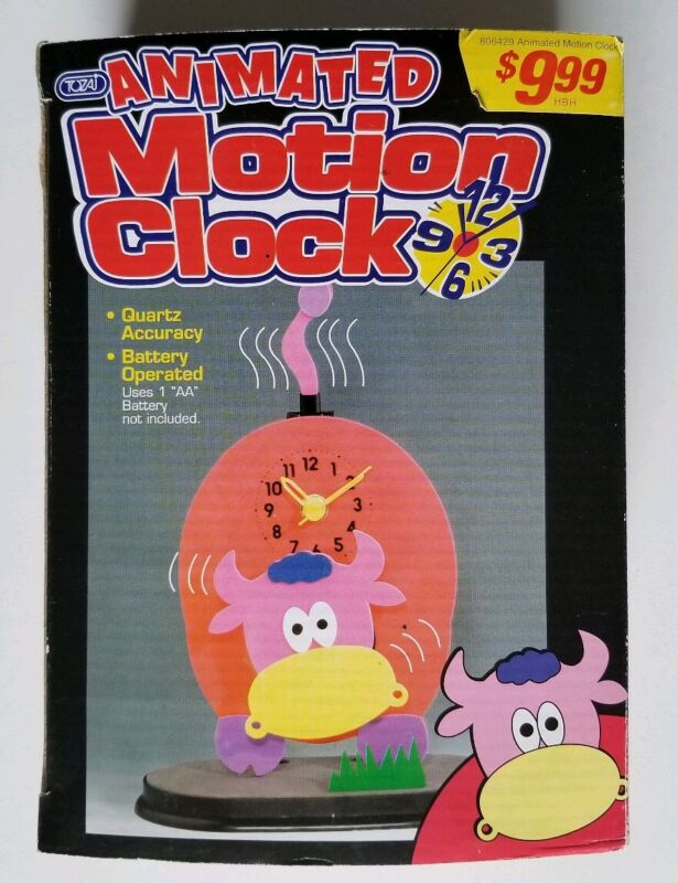 Rare Vintage Tozai Animated Motion Cow Clock (New)