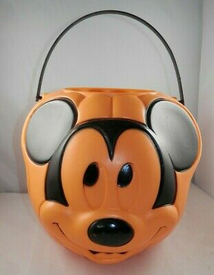 Vintage Mickey Mouse Pumpkin Pail - Trick or Treat Bucket Blow Mold Halloween